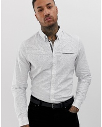 BLEND Monochrome Check Shirt In White