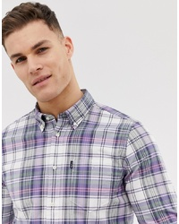 Barbour Slim Fit Check Shirt In White