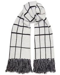 Rag & Bone Mallori Fringed Checked Merino Wool Scarf Ivory