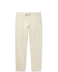 Nn07 Doico Tapered Pleated Cotton Blend Twill Drawstring Trousers