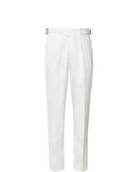 Rubinacci Manny Tapered Pleated Cotton Twill Trousers