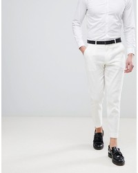 ASOS DESIGN Skinny Crop Smart Trousers In White Linen