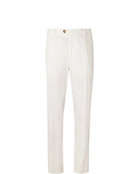 Brunello Cucinelli Tapered Cotton Blend Twill Trousers