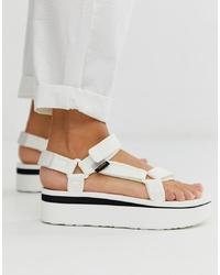 Teva Flatform Universal Mesh Print Chunky Sandals In White