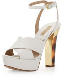 White Chunky Leather Heeled Sandals