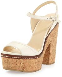 Jimmy Choo Naylor Napa Platform Sandal Off White