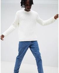 ASOS DESIGN Knitted Chenille Jumper In White