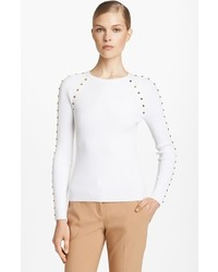 Michael Kors Michl Kors Studded Cotton Blend Sweater White Small