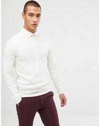 ASOS DESIGN Muscle Fit Merino Wool Jumper In White