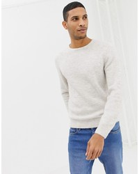 Burton Menswear Ribbed Jumper In Ecru