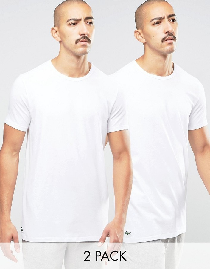 289d88b1 £35, Lacoste Crew Neck T Shirt In 2 Pack In White Slim Fit