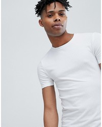 ASOS DESIGN Muscle Fit Longline T Shirt With Curved Hem In Rib