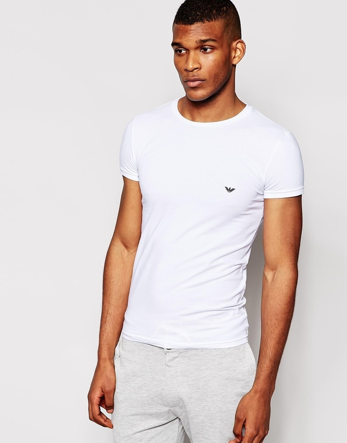 83a46fdc £41, Emporio Armani Stretch Cotton Crew Neck T Shirt In Extreme Fitted Fit