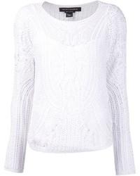 White Crochet Crew-neck Sweater