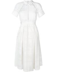 White Crochet Midi Dress