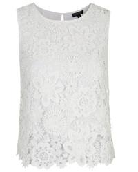 White Crochet Sleeveless Top