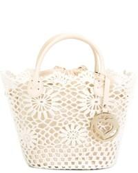 White Crochet Tote Bag