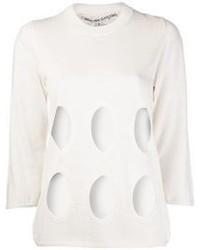 White Cutout Crew-neck Sweater
