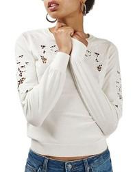 Topshop Floral Cutout Sweater