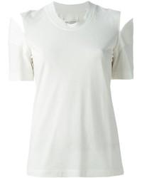 White Cutout Crew-neck T-shirt