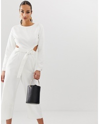 Missguided Denim Jumpsuit With Cut Out Detail In White