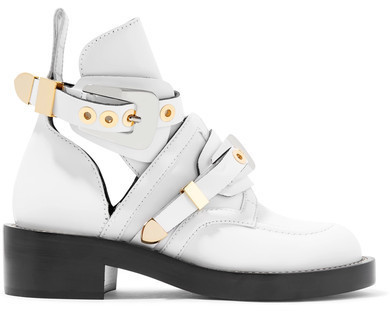 Buckled Cutout Leather Ankle Boots White