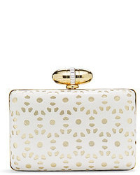 White Cutout Leather Clutch