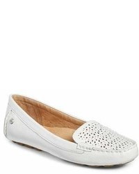 White Cutout Leather Loafers