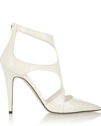 White Cutout Leather Pumps