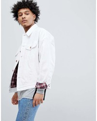 Asos Design Oversized Denim Jacket With Check In White