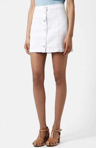 Topshop Moto Button Front Denim Skirt | Where to buy & how to wear