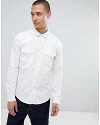 ASOS DESIGN Skinny Denim Western Shirt In White