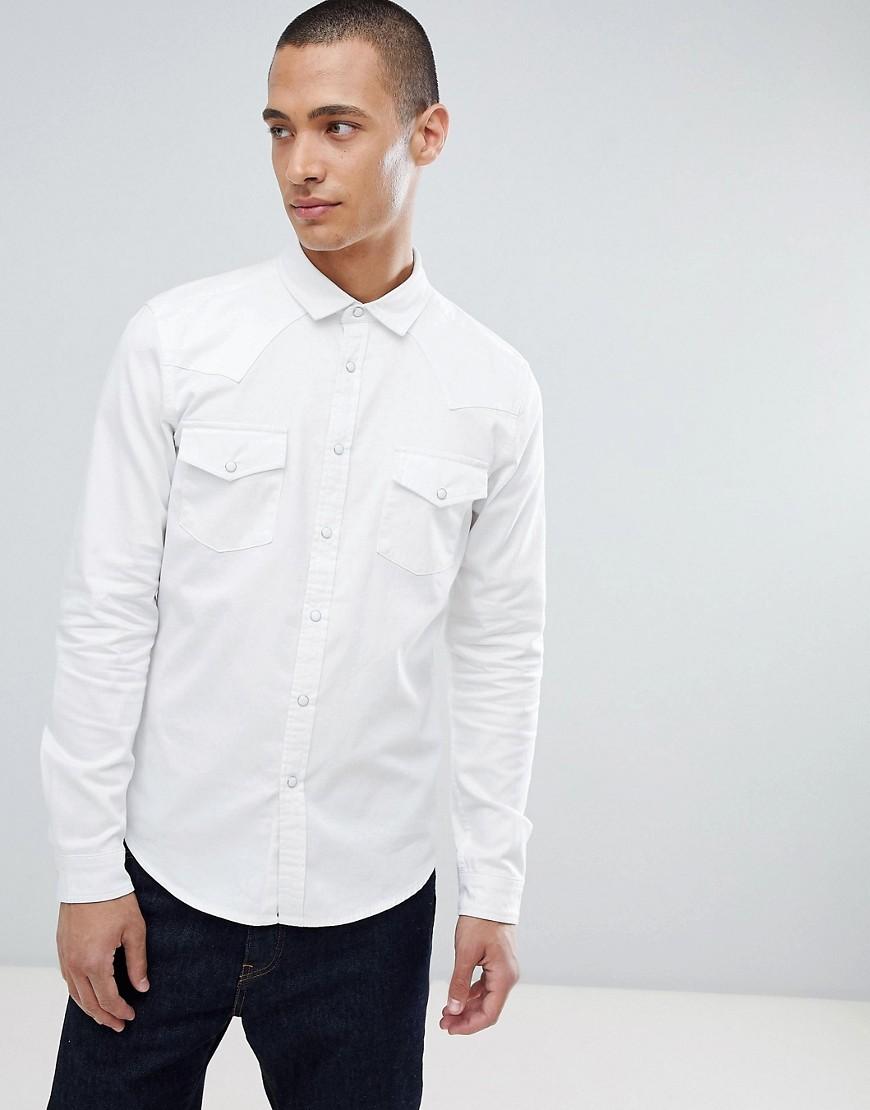 5d232630 ASOS DESIGN Skinny Denim Western Shirt In White, £13   Asos ...