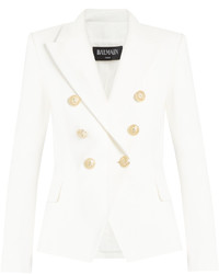 Balmain Double Breasted Cotton Piqu Blazer
