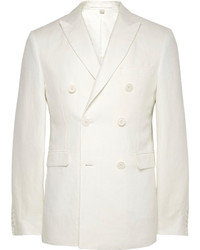 Burberry London Off White Double Breasted Linen Blazer