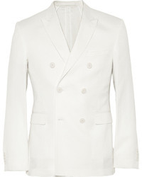 Burberry London Stirling Double Breasted Cotton And Linen Blend Piqu Blazer