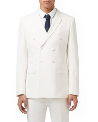 Topman Skinny Fit White Double Breasted Tuxedo Jacket