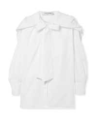 Valentino Hooded Pussy Bow Med Cotton Poplin Shirt