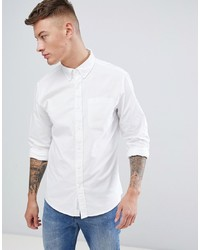 Pull&Bear Regular Fit Oxford Shirt In White