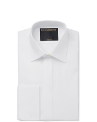 Favourbrook White Bib Front Double Cuff Cotton Poplin Tuxedo Shirt