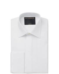 Favourbrook White Bib Front Double Cuff Cotton Poplin Tuxedo Shirt