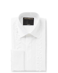 Favourbrook White Double Cuff Ruffled Front Cotton Poplin Tuxedo Shirt