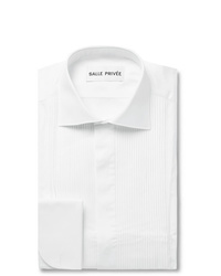 Salle Privée White Mavis Cutaway Collar Bib Front Cotton Poplin Tuxedo Shirt