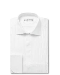 Salle Privée White Mavis Cutaway Collar Bib Front Cotton Poplin Tuxedo Shirt