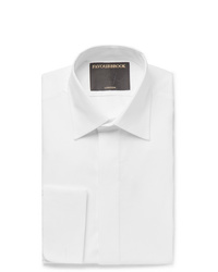 Favourbrook White Slim Fit Bib Front Double Cuff Cotton Tuxedo Shirt