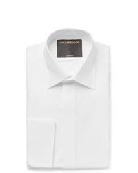 Favourbrook White Slim Fit Bib Front Double Cuff Cotton Tuxedo Shirt
