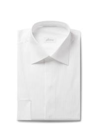 Brioni White Slim Fit Bib Front Double Cuff Cotton Voile Shirt