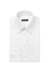 Thom Sweeney White Slim Fit Button Down Collar Cotton Poplin Shirt