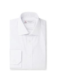Turnbull & Asser White Slim Fit Cutaway Collar Checked Cotton Poplin Shirt
