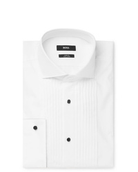 Hugo Boss White Slim Fit Cutaway Collar Pleated Bib Front Cotton Tuxedo Shirt